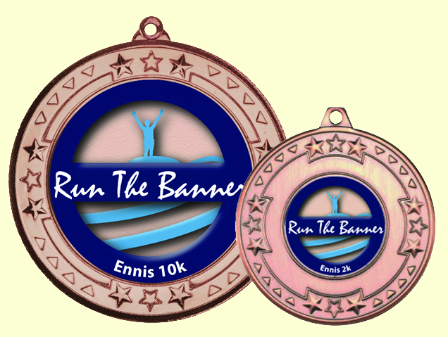 Medals for Ennis 10k and 2k