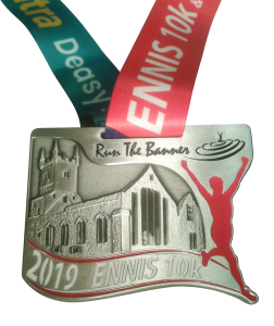 2019 Ennis 10k custom designed runner medal